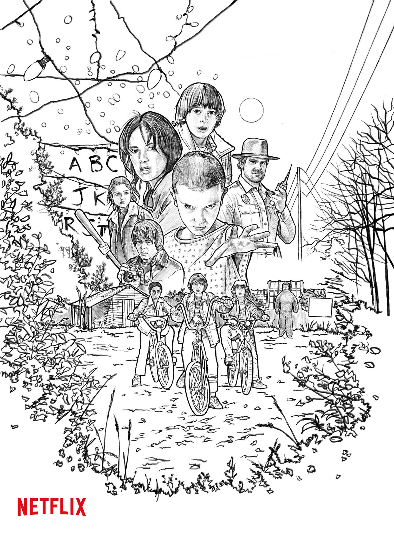 boceto cartel stranger things