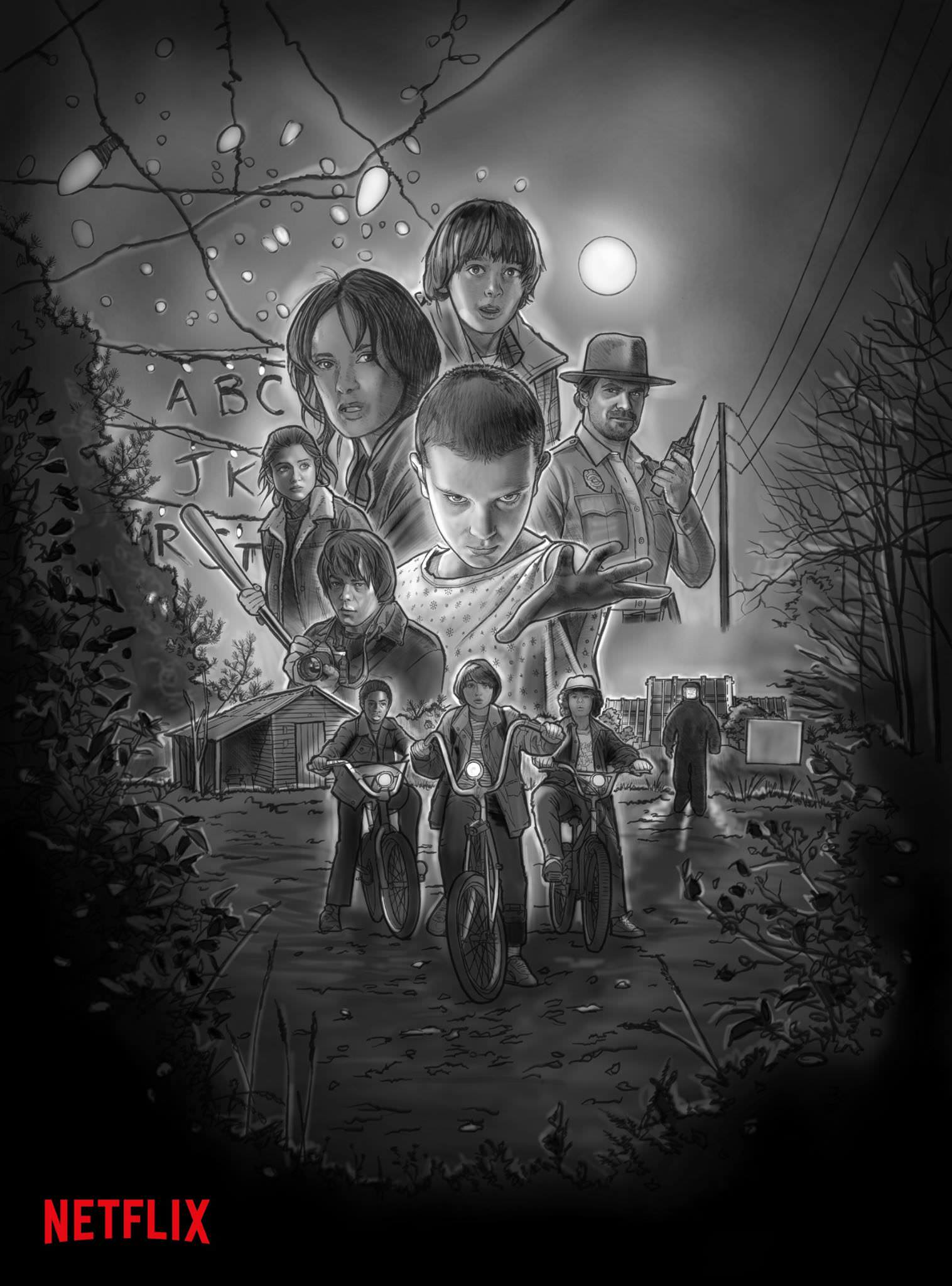 cartel stranger things blanco y negro